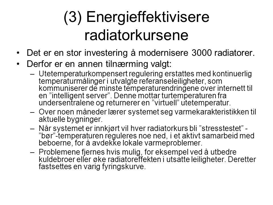 (3) Energieffektivisere radiatorkursene •Det er en stor investering å modernisere 3000 radiatorer. •Derfor er en annen tilnærming valgt: –Utetemperatu