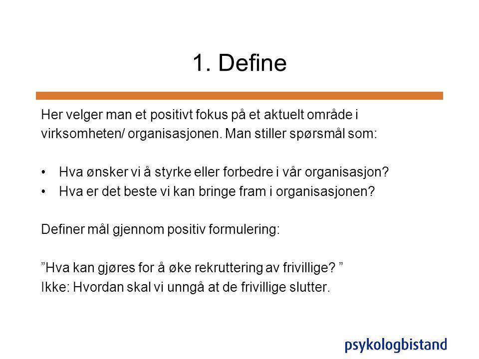 1. Define Her velger man et positivt fokus på et aktuelt område i virksomheten/ organisasjonen. Man stiller spørsmål som: •Hva ønsker vi å styrke elle
