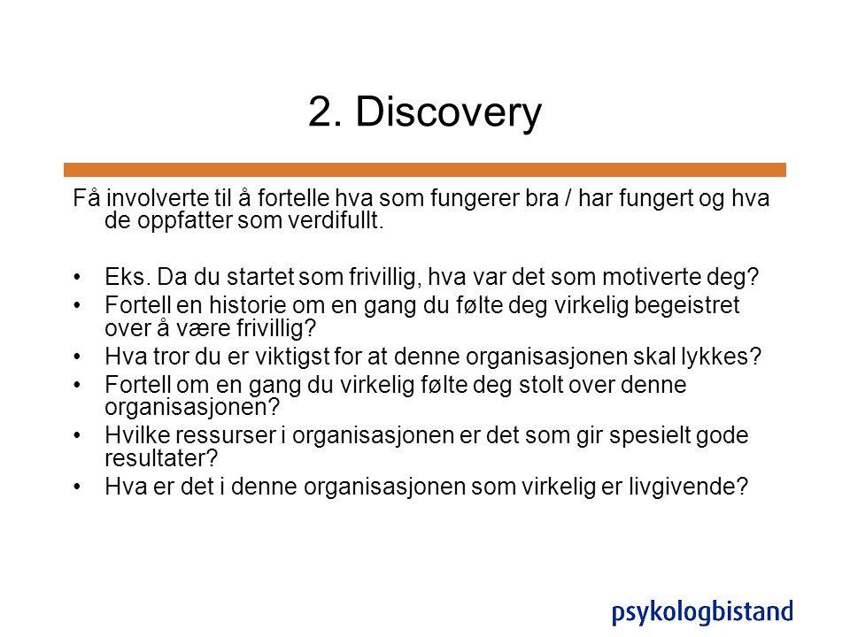 2. Discovery Få involverte til å fortelle hva som fungerer bra / har fungert og hva de oppfatter som verdifullt. •Eks. Da du startet som frivillig, hv
