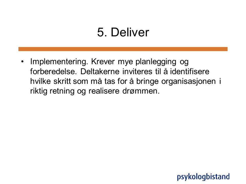 5. Deliver •Implementering. Krever mye planlegging og forberedelse. Deltakerne inviteres til å identifisere hvilke skritt som må tas for å bringe orga