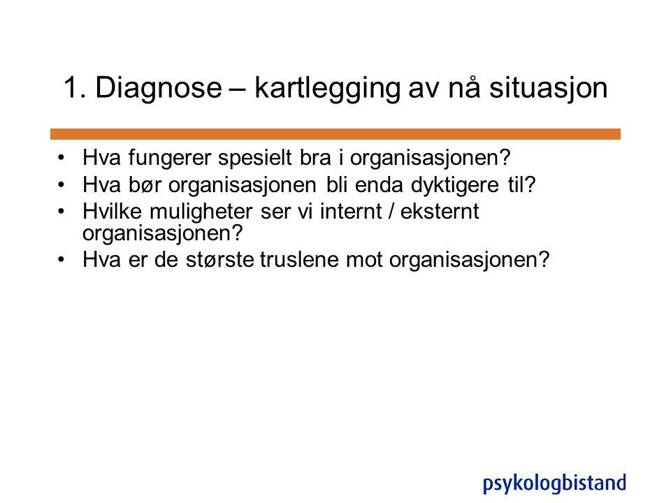 1. Diagnose – kartlegging av nå situasjon •Hva fungerer spesielt bra i organisasjonen? •Hva bør organisasjonen bli enda dyktigere til? •Hvilke mulighe