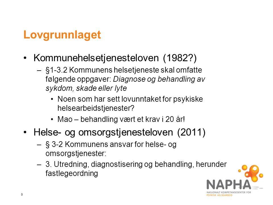 9 Lovgrunnlaget •Kommunehelsetjenesteloven (1982?) –§1-3.2 Kommunens helsetjeneste skal omfatte følgende oppgaver: Diagnose og behandling av sykdom, s