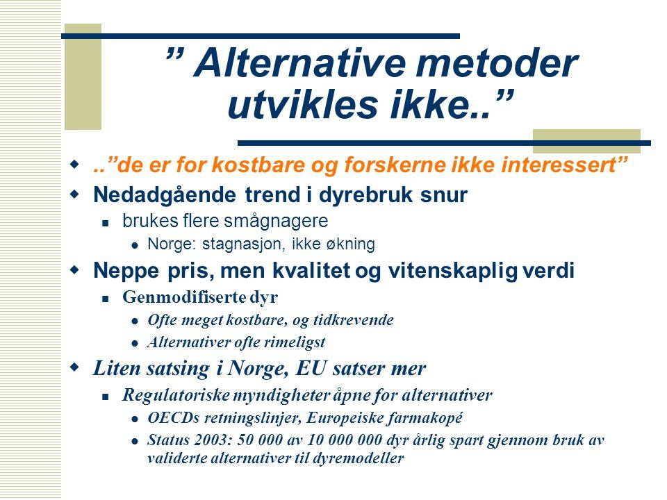 """"""" Alternative metoder utvikles ikke.."""" ..""""de er for kostbare og forskerne ikke interessert""""  Nedadgående trend i dyrebruk snur  brukes flere smågna"""