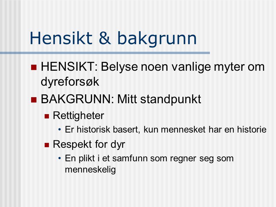 Hensikt & bakgrunn  HENSIKT: Belyse noen vanlige myter om dyreforsøk  BAKGRUNN: Mitt standpunkt  Rettigheter •Er historisk basert, kun mennesket ha