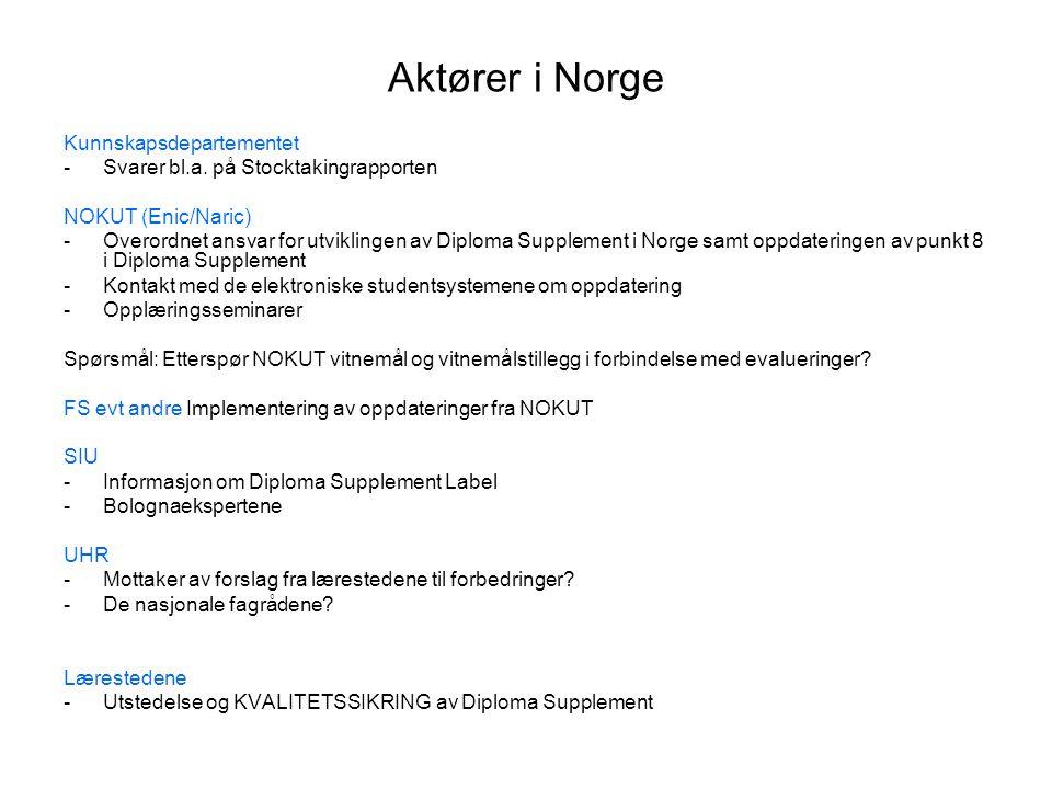 Aktører i Norge Kunnskapsdepartementet -Svarer bl.a.