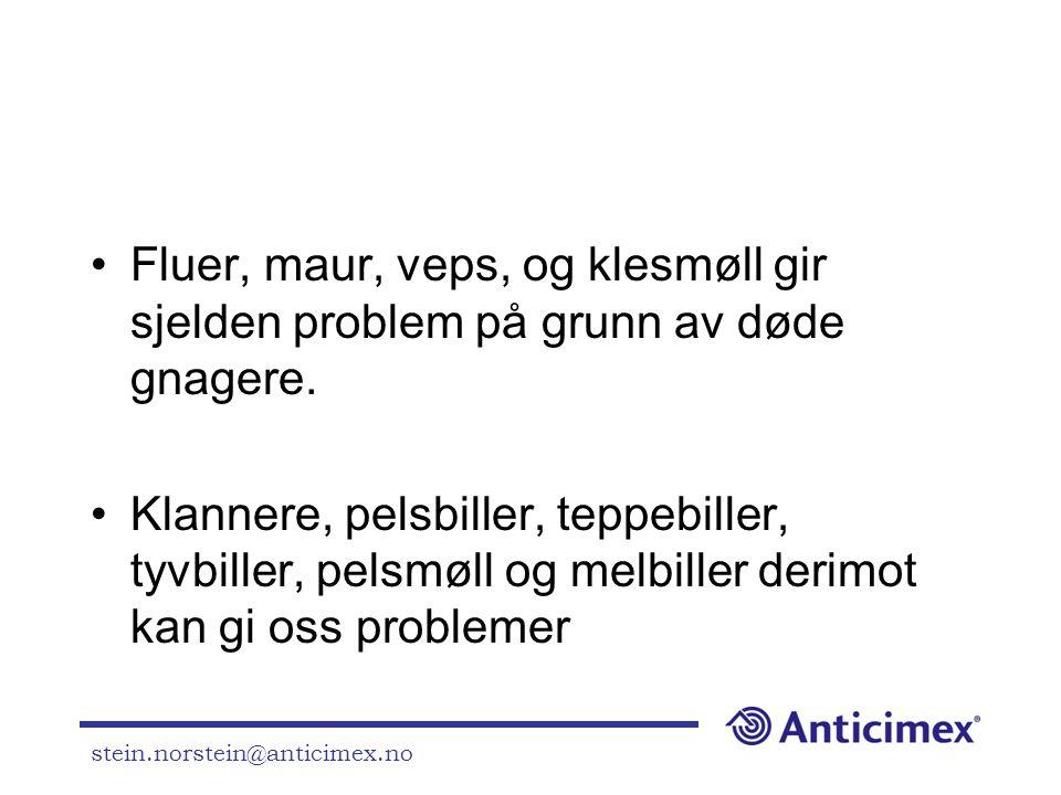 stein.norstein@anticimex.no •Fluer, maur, veps, og klesmøll gir sjelden problem på grunn av døde gnagere. •Klannere, pelsbiller, teppebiller, tyvbille