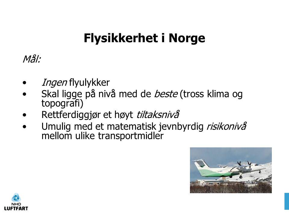 Flysikkerhet i Norge Mål: •Ingen flyulykker •Skal ligge på nivå med de beste (tross klima og topografi) •Rettferdiggjør et høyt tiltaksnivå •Umulig me