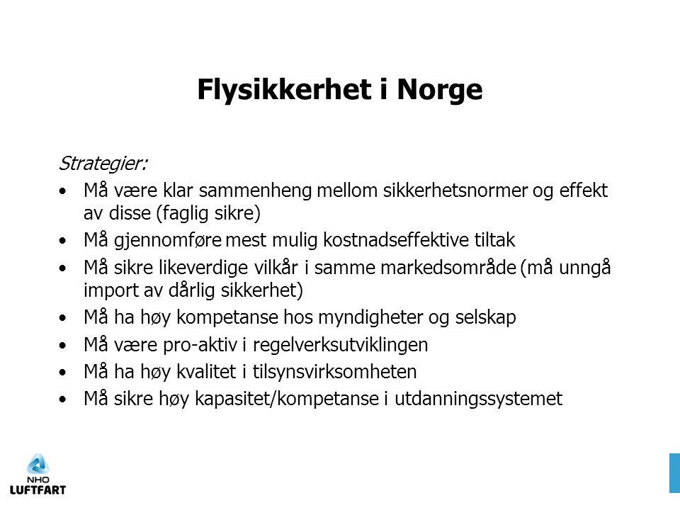 Flysikkerhet i Norge Strategier: •Må være klar sammenheng mellom sikkerhetsnormer og effekt av disse (faglig sikre) •Må gjennomføre mest mulig kostnad