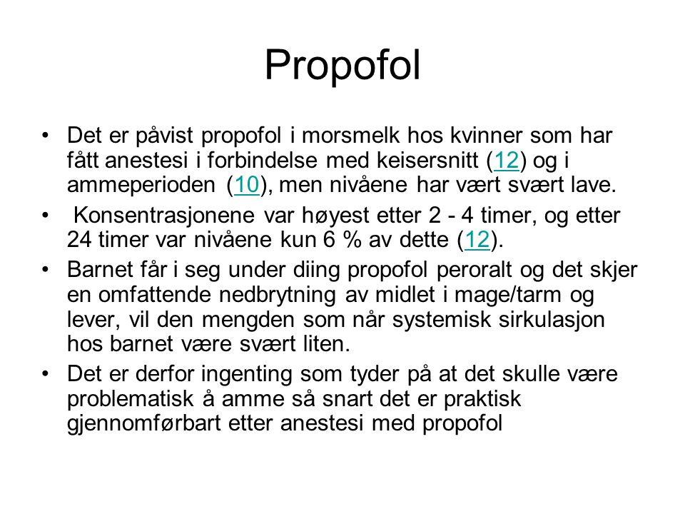 Propofol •Det er påvist propofol i morsmelk hos kvinner som har fått anestesi i forbindelse med keisersnitt (12) og i ammeperioden (10), men nivåene h