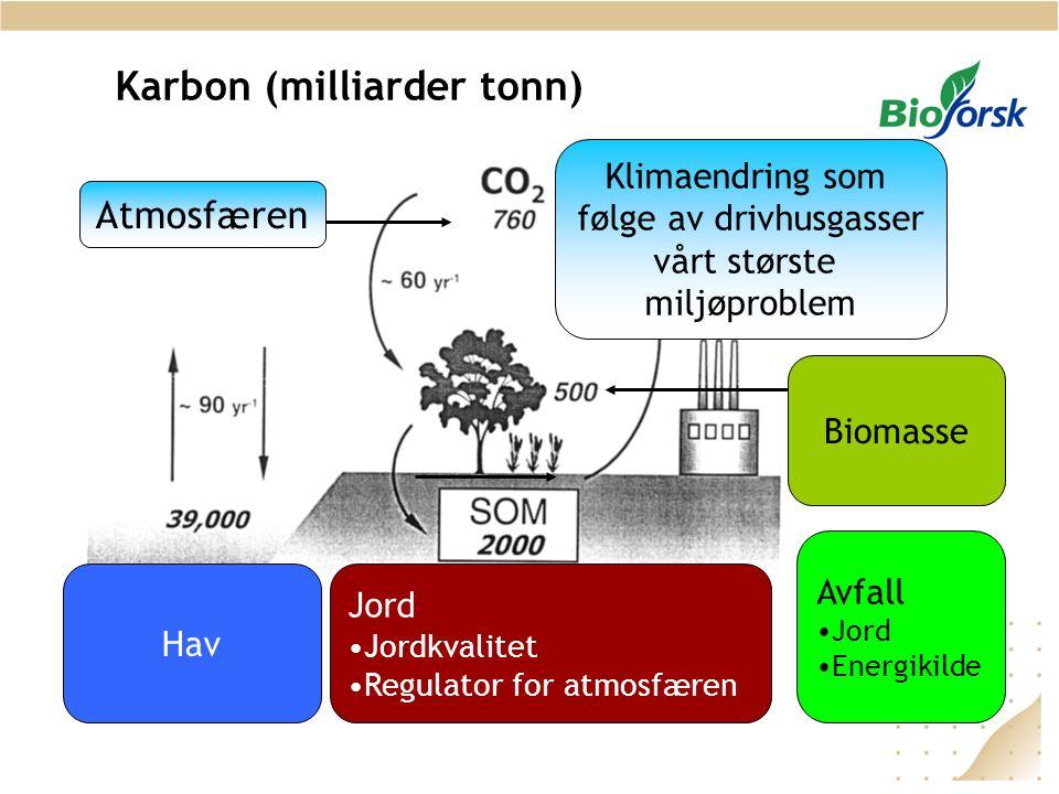 Karbon (milliarder tonn) Klimaendring som følge av drivhusgasser vårt største miljøproblem Atmosfæren Jord •Jordkvalitet •Regulator for atmosfæren Hav