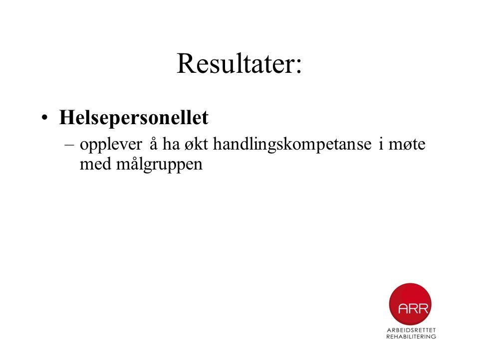 Resultater: •Helsepersonellet –opplever å ha økt handlingskompetanse i møte med målgruppen