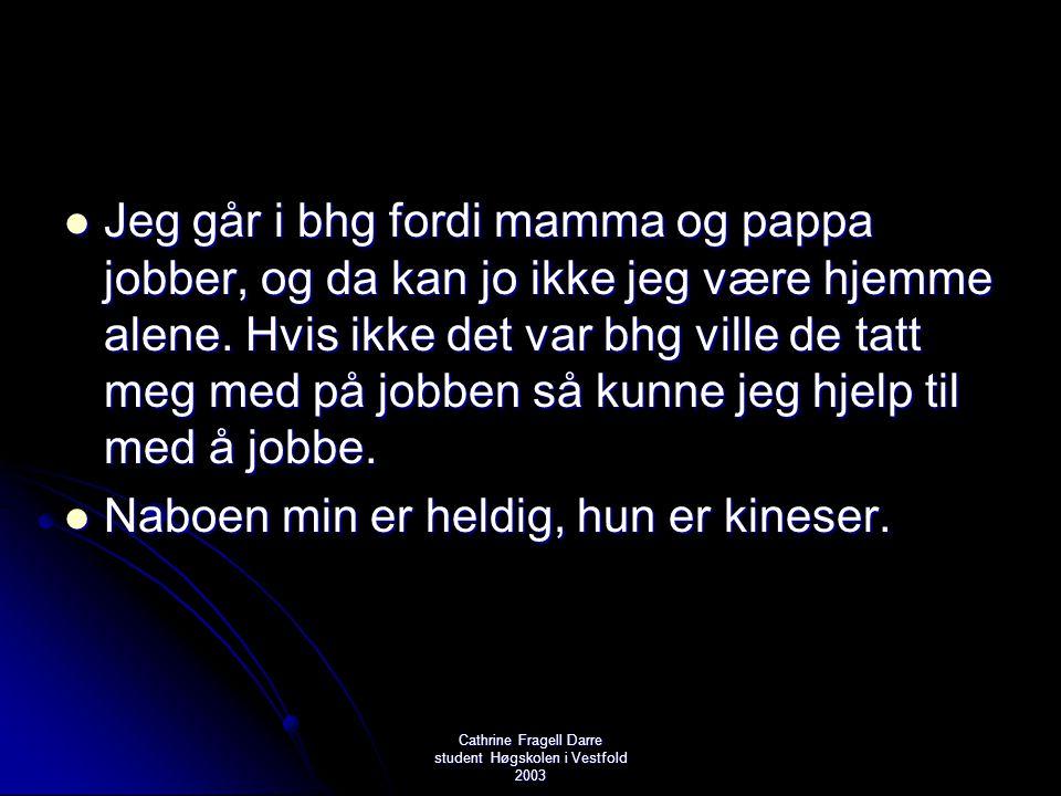 Cathrine Fragell Darre student Høgskolen i Vestfold 2003  Jeg går i bhg fordi mamma og pappa jobber, og da kan jo ikke jeg være hjemme alene. Hvis ik