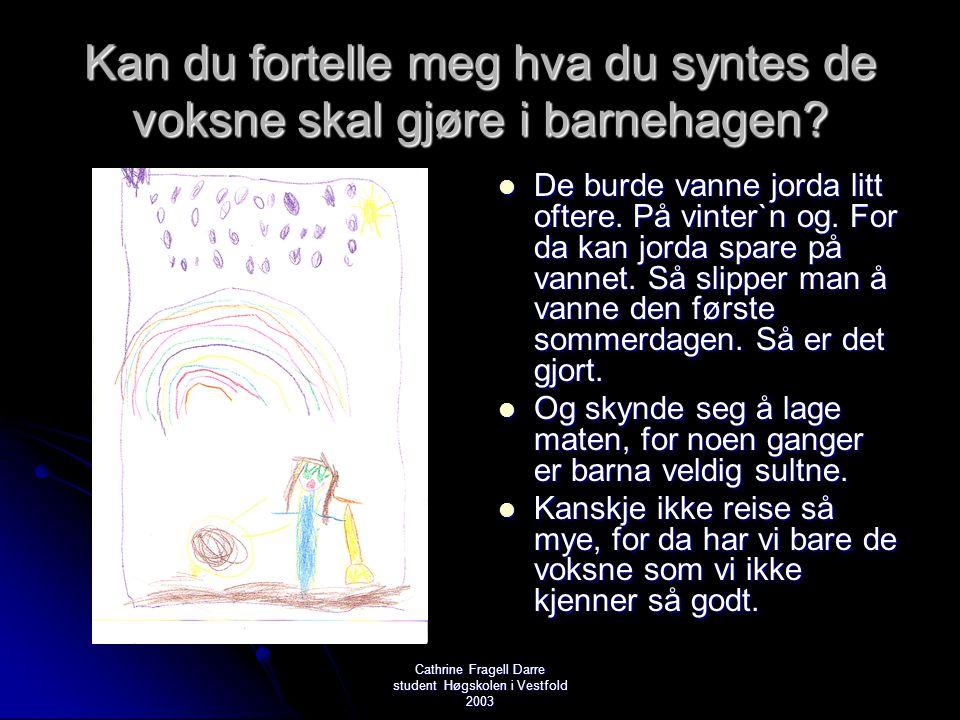 Cathrine Fragell Darre student Høgskolen i Vestfold 2003 Kan du fortelle meg hva du syntes de voksne skal gjøre i barnehagen?  De burde vanne jorda l