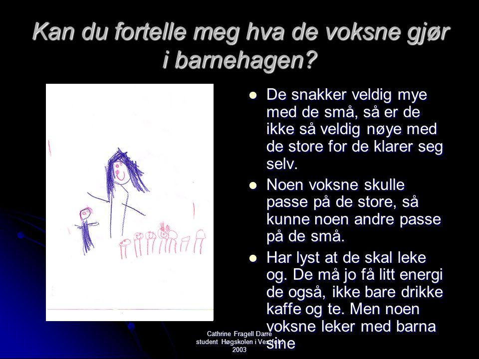 Cathrine Fragell Darre student Høgskolen i Vestfold 2003 Kan du fortelle meg hva de voksne gjør i barnehagen?  De snakker veldig mye med de små, så e