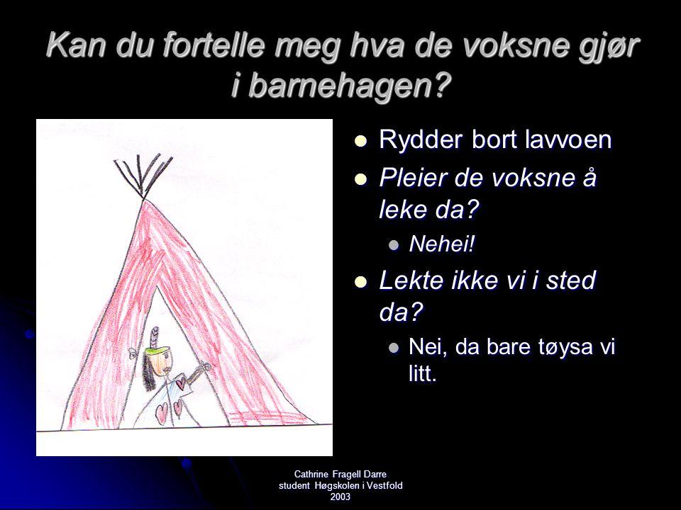 Cathrine Fragell Darre student Høgskolen i Vestfold 2003 Kan du fortelle meg hva de voksne gjør i barnehagen?  Rydder bort lavvoen  Pleier de voksne