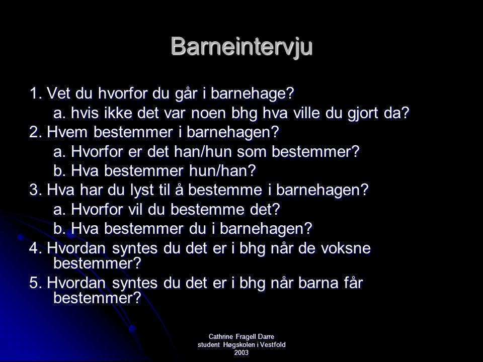 Cathrine Fragell Darre student Høgskolen i Vestfold 2003 Barneintervju 1. Vet du hvorfor du går i barnehage? a. hvis ikke det var noen bhg hva ville d