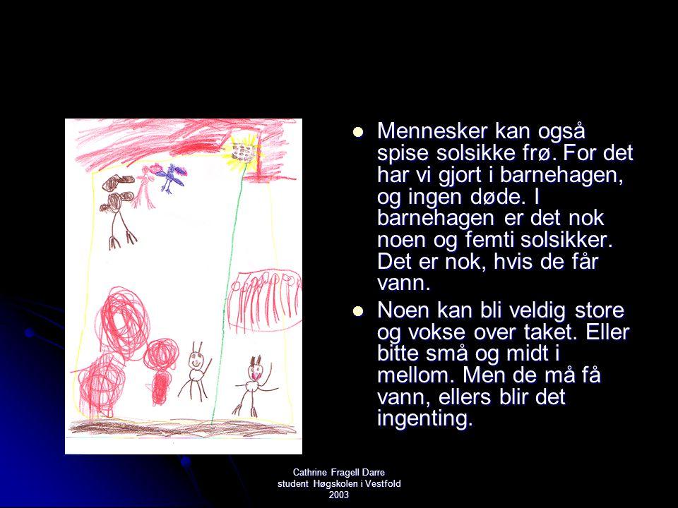 Cathrine Fragell Darre student Høgskolen i Vestfold 2003  Mennesker kan også spise solsikke frø. For det har vi gjort i barnehagen, og ingen døde. I