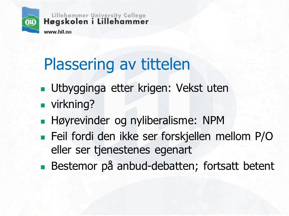 www.hil.no Plassering av tittelen  Utbygginga etter krigen: Vekst uten  virkning.