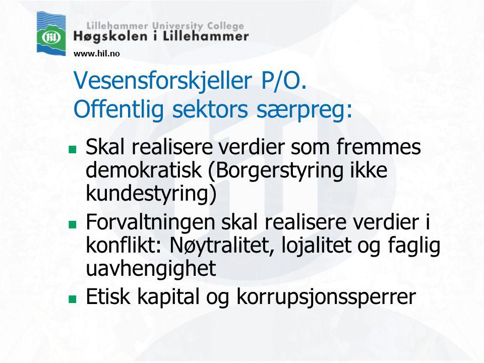 www.hil.no Krav til offentlig sektor (Hood): Sparsommelighet (frugality) - Rettskaffenhet (rectitude) - Fleksibilitet (resilience) - Forvaltningens trilemma  Finnes ingen enkle løsninger