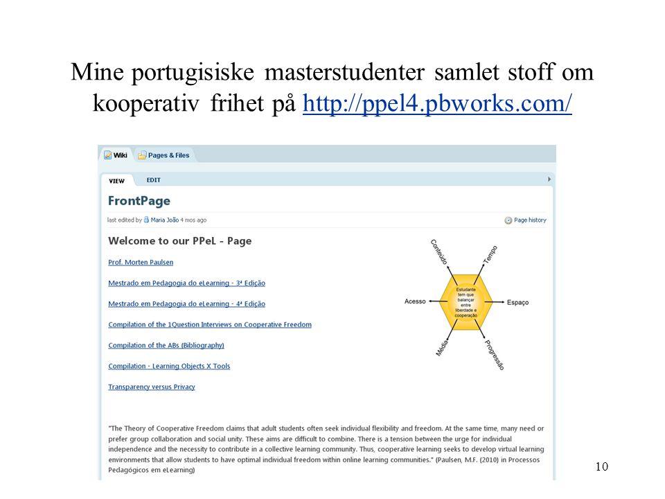 Mine portugisiske masterstudenter samlet stoff om kooperativ frihet på http://ppel4.pbworks.com/http://ppel4.pbworks.com/ 10