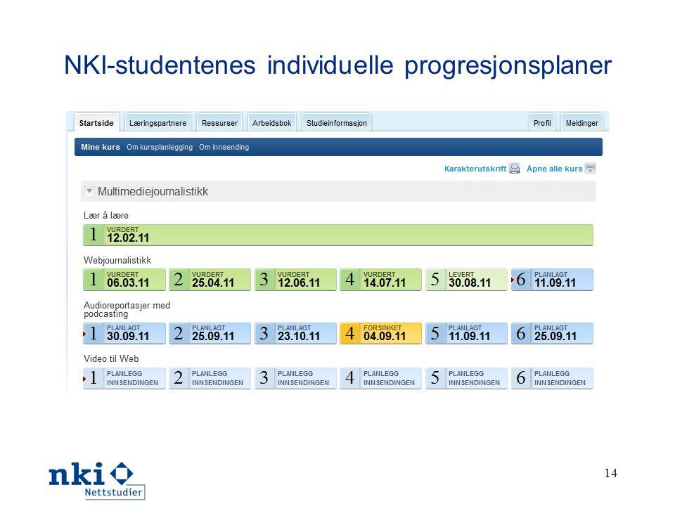 NKI-studentenes individuelle progresjonsplaner 14