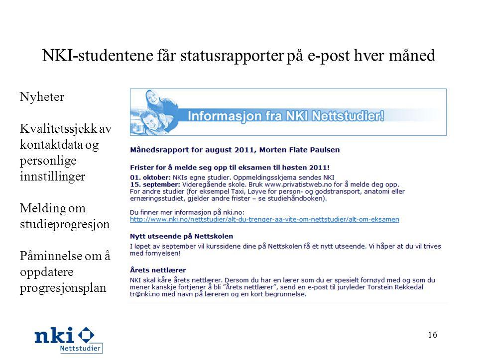 NKI-studentene får statusrapporter på e-post hver måned 16 Nyheter Kvalitetssjekk av kontaktdata og personlige innstillinger Melding om studieprogresj