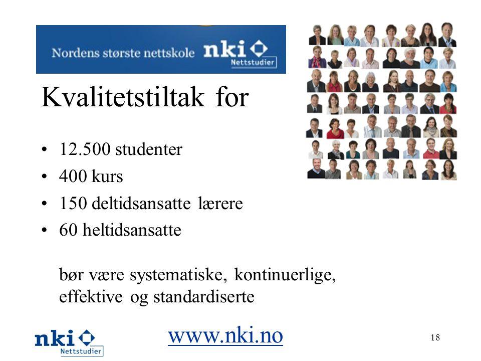 Kvalitetstiltak for •12.500 studenter •400 kurs •150 deltidsansatte lærere •60 heltidsansatte bør være systematiske, kontinuerlige, effektive og stand