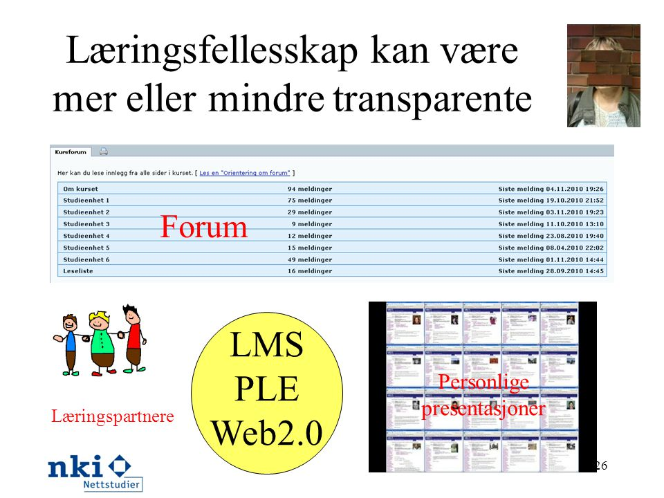 26 Læringsfellesskap kan være mer eller mindre transparente Forum Læringspartnere Personlige presentasjoner LMS PLE Web2.0
