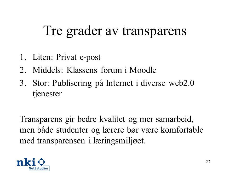 Tre grader av transparens 1.Liten: Privat e-post 2.Middels: Klassens forum i Moodle 3.Stor: Publisering på Internet i diverse web2.0 tjenester 27 Tran
