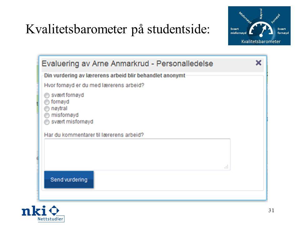 Kvalitetsbarometer på studentside: 31