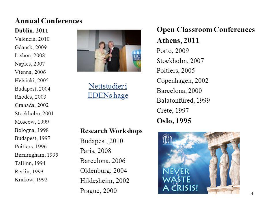 Annual Conferences Dublin, 2011 Valencia, 2010 Gdansk, 2009 Lisbon, 2008 Naples, 2007 Vienna, 2006 Helsinki, 2005 Budapest, 2004 Rhodes, 2003 Granada,