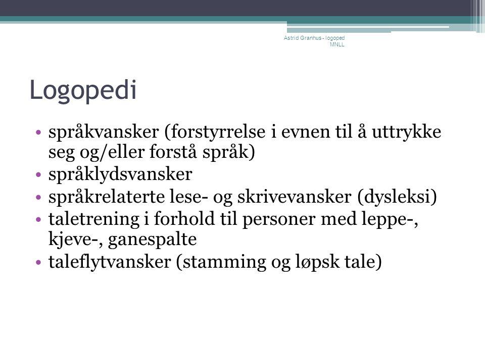 Logopedi •språkvansker (forstyrrelse i evnen til å uttrykke seg og/eller forstå språk) •språklydsvansker •språkrelaterte lese- og skrivevansker (dysle