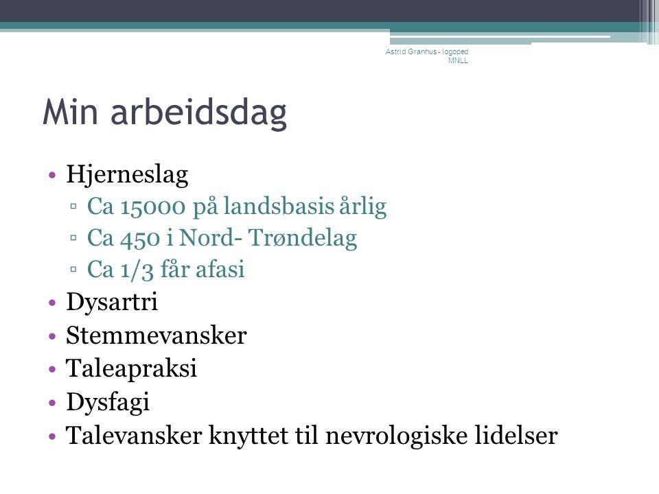Min arbeidsdag •Hjerneslag ▫Ca 15000 på landsbasis årlig ▫Ca 450 i Nord- Trøndelag ▫Ca 1/3 får afasi •Dysartri •Stemmevansker •Taleapraksi •Dysfagi •T
