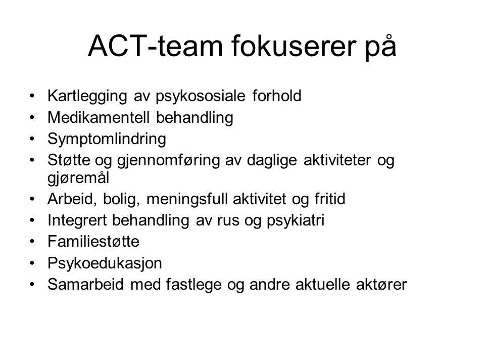 ACT-team fokuserer på •Kartlegging av psykososiale forhold •Medikamentell behandling •Symptomlindring •Støtte og gjennomføring av daglige aktiviteter