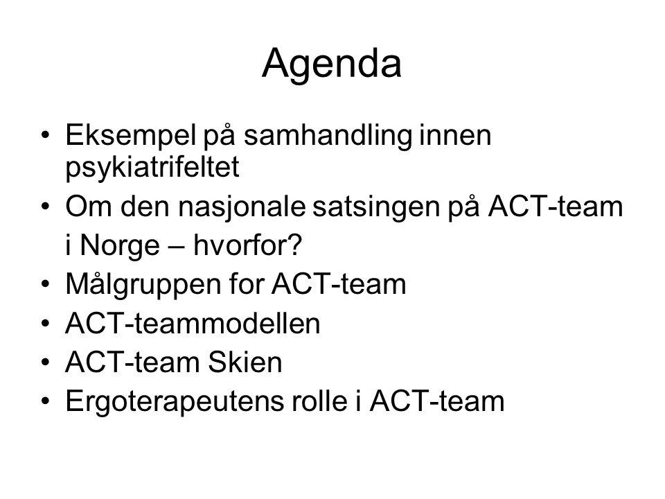 Agenda •Eksempel på samhandling innen psykiatrifeltet •Om den nasjonale satsingen på ACT-team i Norge – hvorfor? •Målgruppen for ACT-team •ACT-teammod
