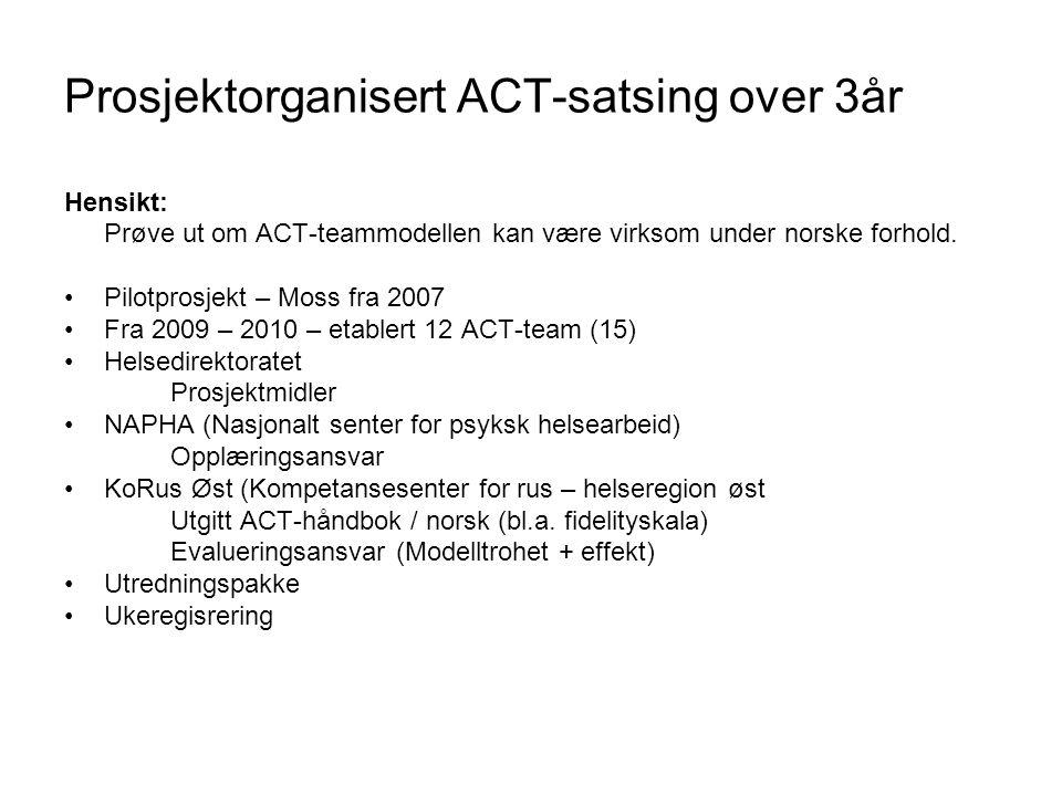 Prosjektorganisert ACT-satsing over 3år Hensikt: Prøve ut om ACT-teammodellen kan være virksom under norske forhold. •Pilotprosjekt – Moss fra 2007 •F