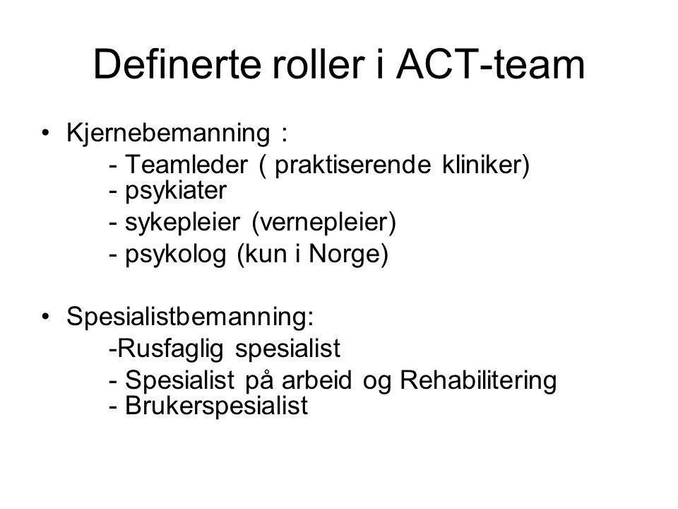 Definerte roller i ACT-team •Kjernebemanning : - Teamleder ( praktiserende kliniker) - psykiater - sykepleier (vernepleier) - psykolog (kun i Norge) •