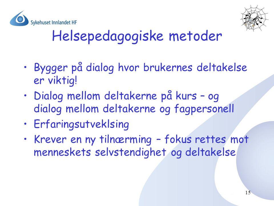 15 Helsepedagogiske metoder •Bygger på dialog hvor brukernes deltakelse er viktig! •Dialog mellom deltakerne på kurs – og dialog mellom deltakerne og