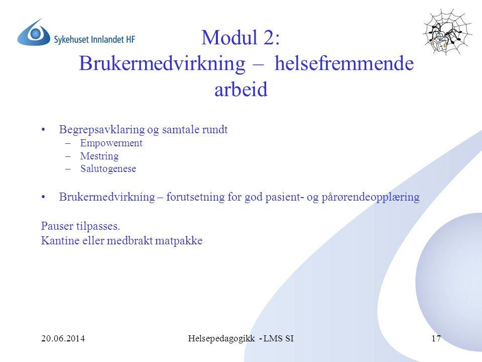20.06.2014Helsepedagogikk - LMS SI17 Modul 2: Brukermedvirkning – helsefremmende arbeid •Begrepsavklaring og samtale rundt –Empowerment –Mestring –Sal