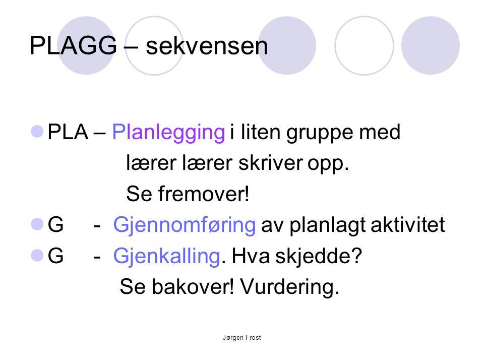 Jørgen Frost PLAGG – sekvensen  PLA – Planlegging i liten gruppe med lærer lærer skriver opp. Se fremover!  G - Gjennomføring av planlagt aktivitet