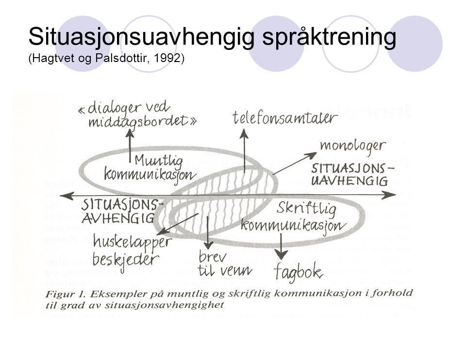 Situasjonsuavhengig språktrening (Hagtvet og Palsdottir, 1992)