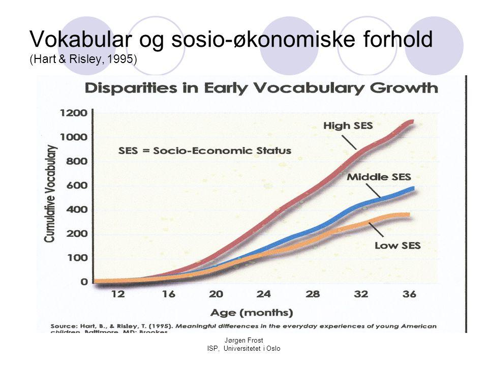 Jørgen Frost ISP, Universitetet i Oslo Vokabular og sosio-økonomiske forhold (Hart & Risley, 1995)