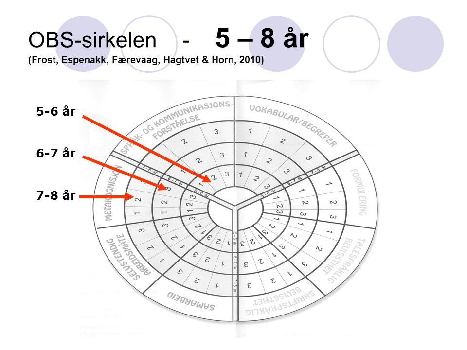 Jørgen Frost ISP, Universitetet i Oslo OBS-sirkelen - 5 – 8 år (Frost, Espenakk, Færevaag, Hagtvet & Horn, 2010) 5-6 år 6-7 år 7-8 år
