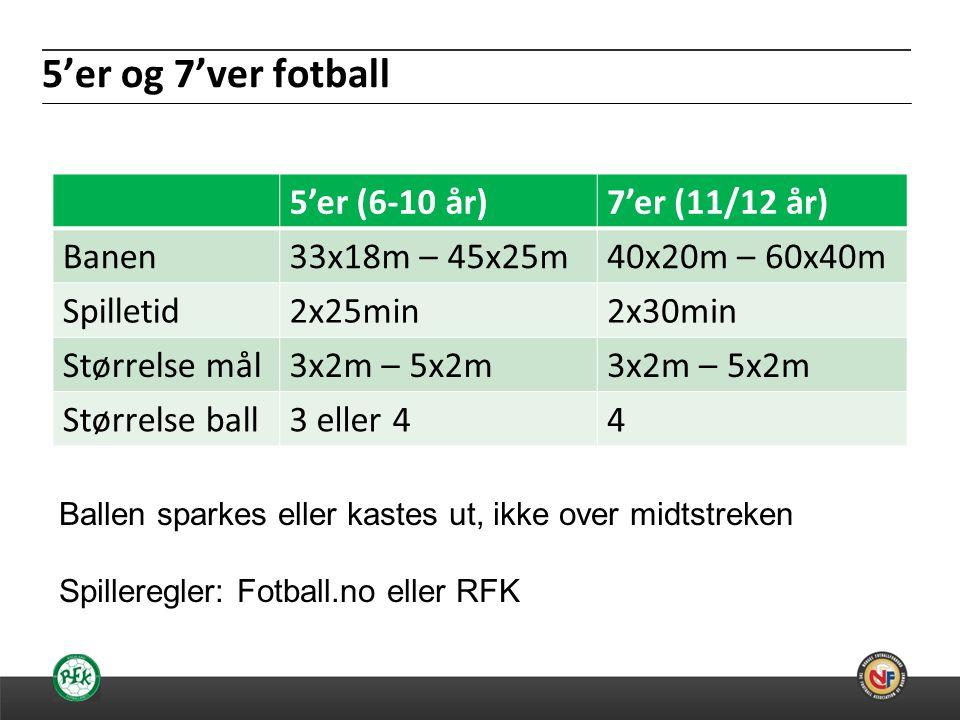 20.06.2014 5'er og 7'ver fotball 5'er (6-10 år)7'er (11/12 år) Banen33x18m – 45x25m40x20m – 60x40m Spilletid2x25min2x30min Størrelse mål3x2m – 5x2m Størrelse ball3 eller 44 Ballen sparkes eller kastes ut, ikke over midtstreken Spilleregler: Fotball.no eller RFK