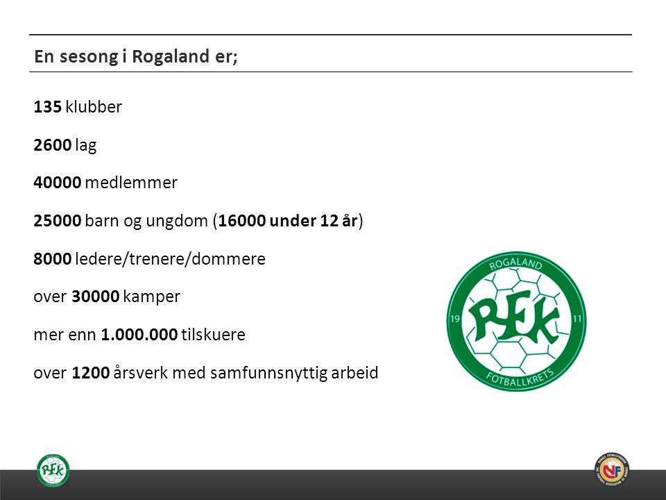 20.06.2014 En sesong i Rogaland er; 135 klubber 2600 lag 40000 medlemmer 25000 barn og ungdom (16000 under 12 år) 8000 ledere/trenere/dommere over 30000 kamper mer enn 1.000.000 tilskuere over 1200 årsverk med samfunnsnyttig arbeid