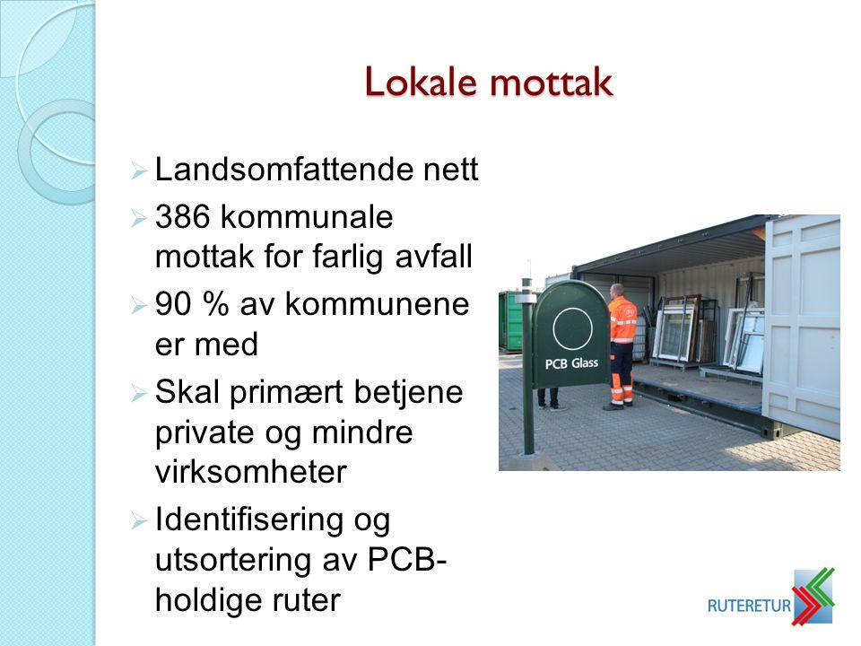 Lokale mottak  Landsomfattende nett  386 kommunale mottak for farlig avfall  90 % av kommunene er med  Skal primært betjene private og mindre virk