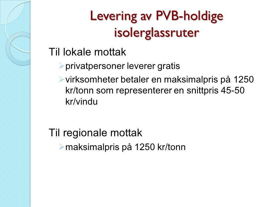 Levering av PVB-holdige isolerglassruter Til lokale mottak  privatpersoner leverer gratis  virksomheter betaler en maksimalpris på 1250 kr/tonn som