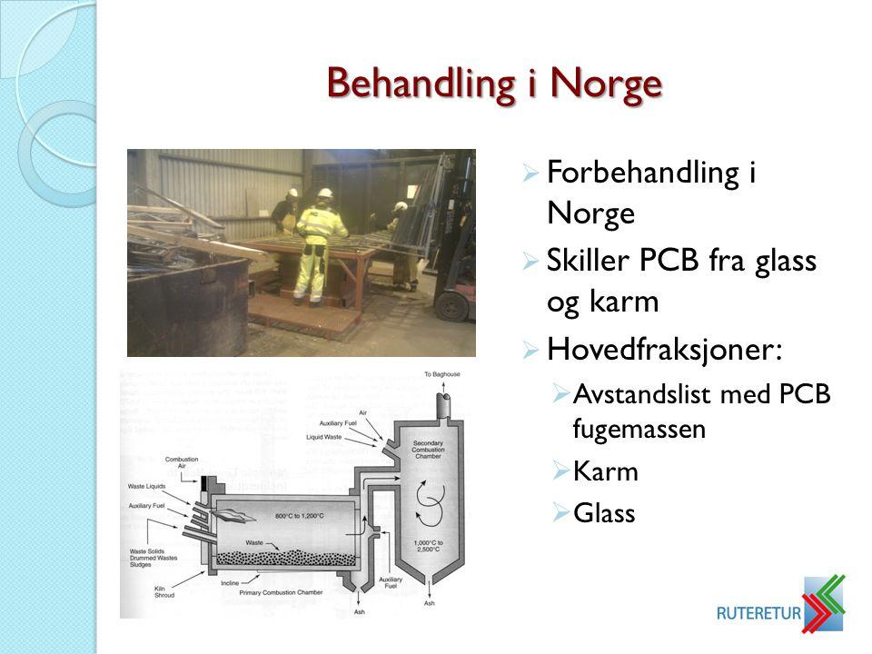 Behandling i Norge  Forbehandling i Norge  Skiller PCB fra glass og karm  Hovedfraksjoner:  Avstandslist med PCB fugemassen  Karm  Glass