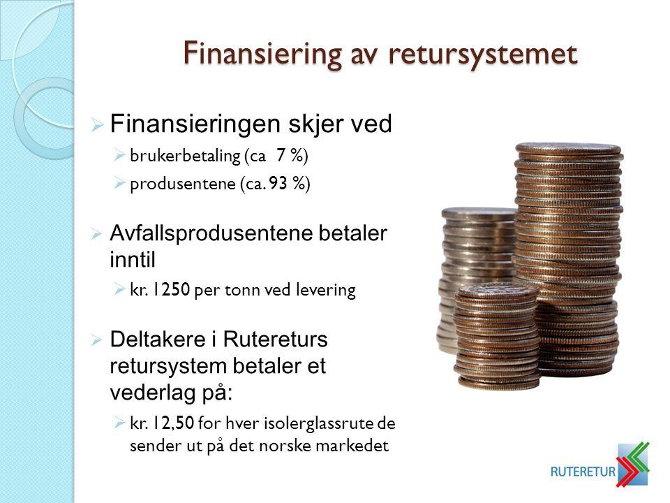 Finansiering av retursystemet  Finansieringen skjer ved  brukerbetaling (ca 7 %)  produsentene (ca. 93 %)  Avfallsprodusentene betaler inntil  kr