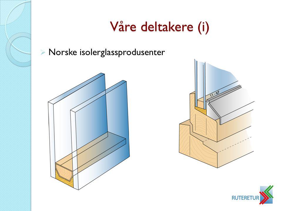 Våre deltakere (i)  Norske isolerglassprodusenter